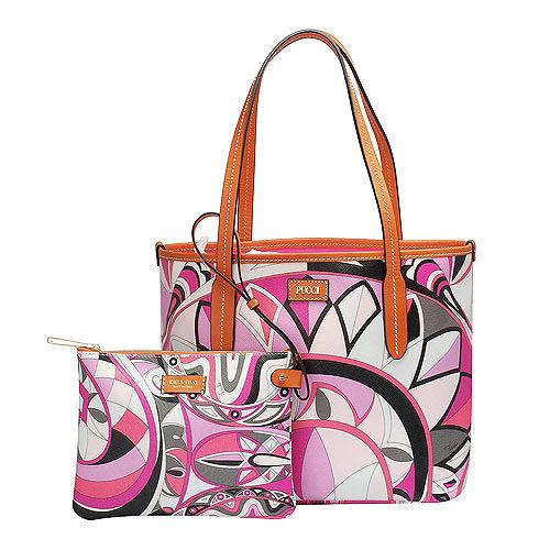 EMILIO PUCCI 經典幾何印花牛皮飾邊PVC子母購物包(小-粉紅-附萬用小袋)