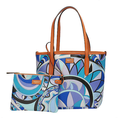 EMILIO PUCCI 經典幾何印花牛皮飾邊PVC子母購物包(小-松石綠-附萬用小袋)