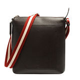 BALLY POOLEY經典雙色織帶荔枝紋牛皮車縫造型斜背包(小-棕色)