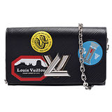 LV M62007 TWIST系列玩味貼紙EPI水波紋LOGO轉釦手拿/肩背包(黑)