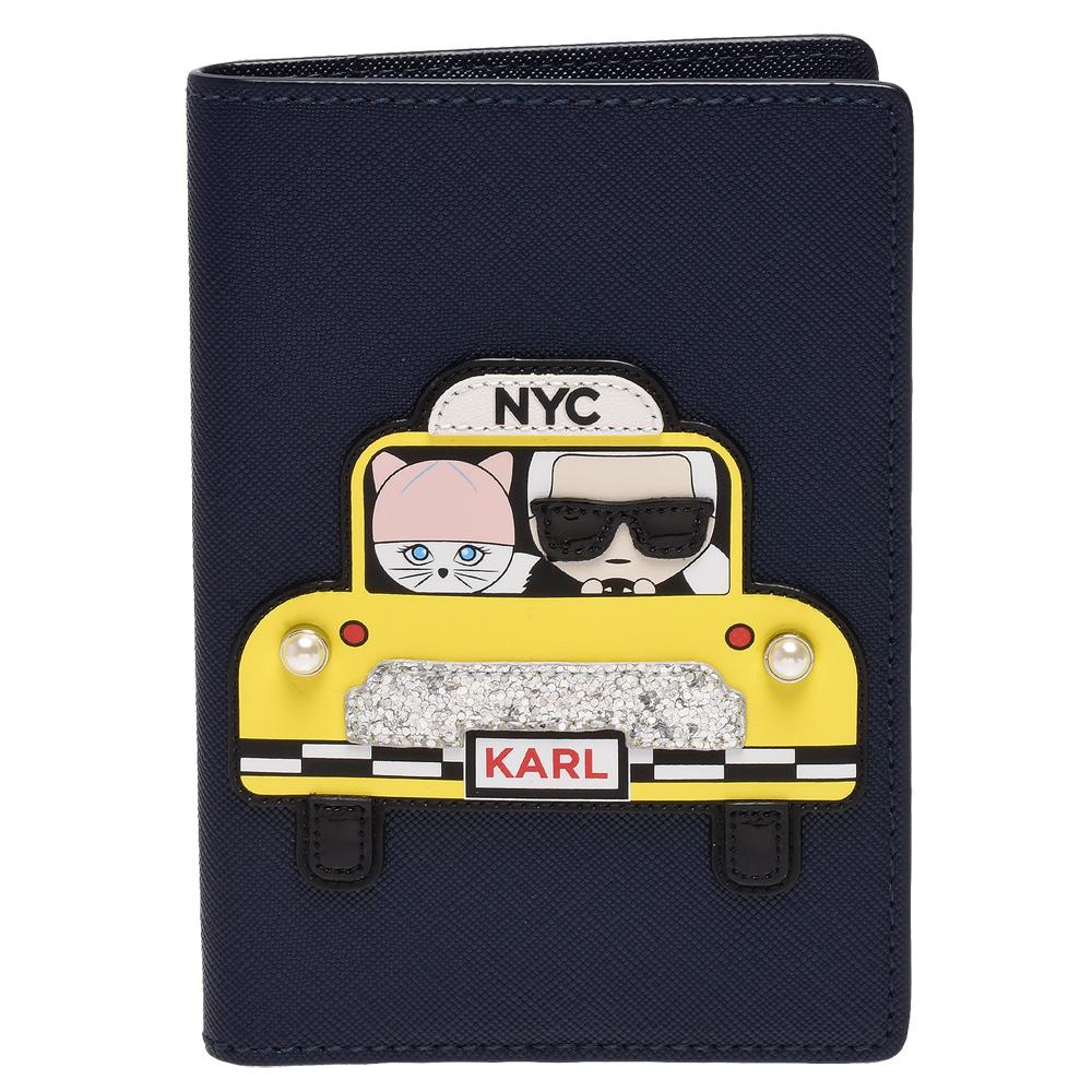 KARL LAGERFELD經典NYC系列Saffiano皮革鑲嵌護照夾(午夜藍)
