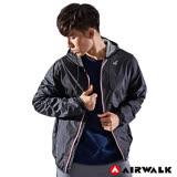 【AIRWALK】男款連帽風衣外套-黑色