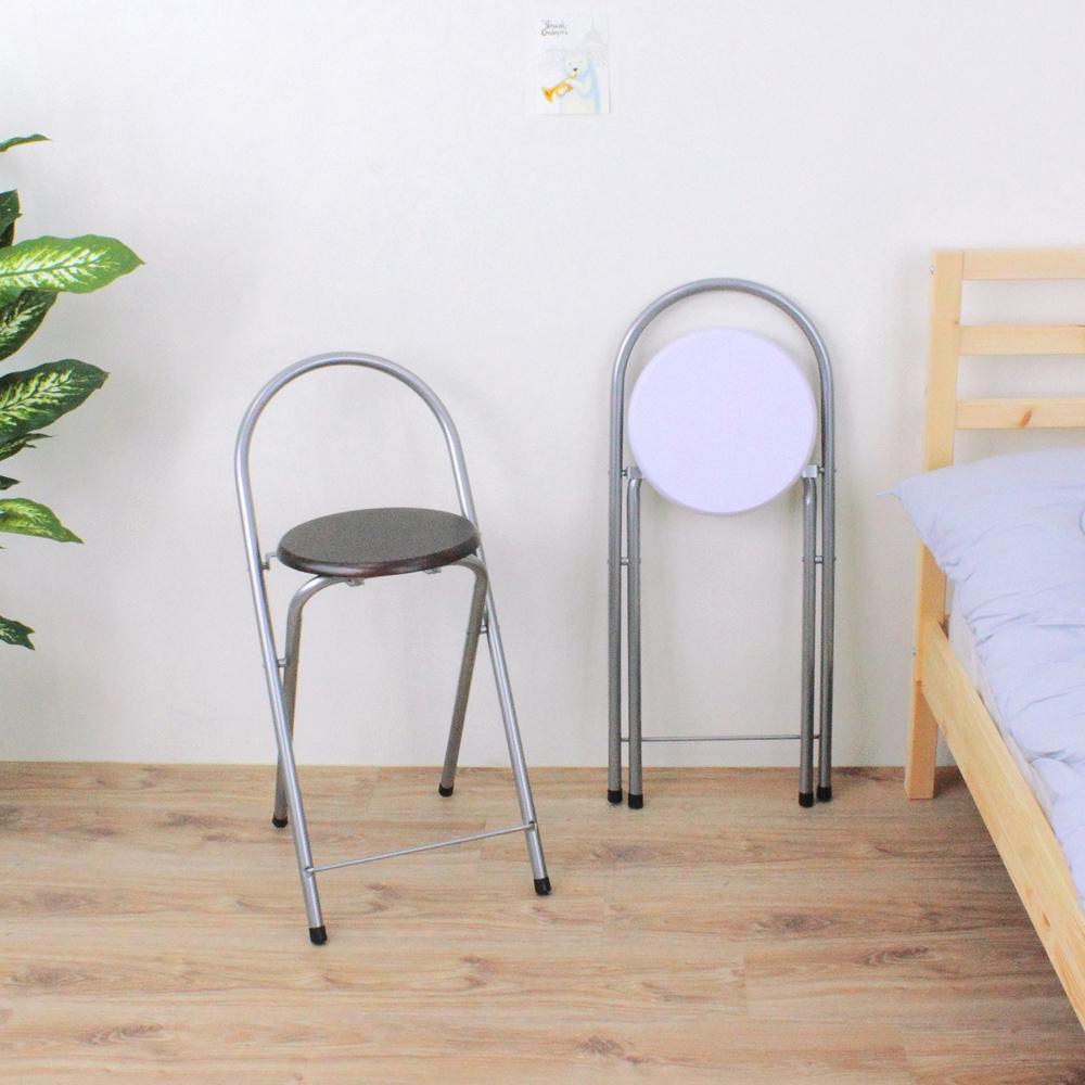 【環球】鋼管高背(木製椅座)折疊椅/吧台椅/高腳椅/摺疊椅/折合椅(二色可選)