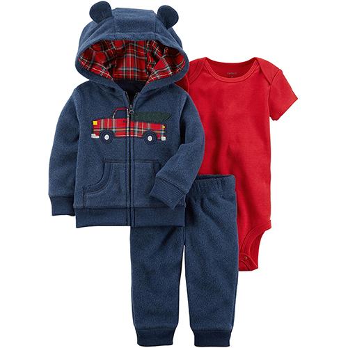 美國 Carter / Carter's 嬰幼兒秋冬外套包屁衣長褲三件組_格紋車車_CTBC048