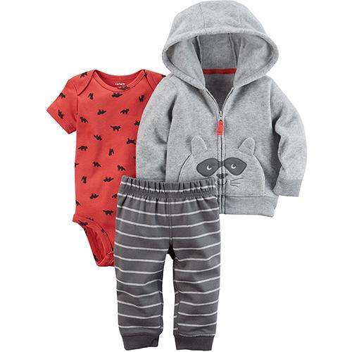 美國 Carter / Carter's 嬰幼兒秋冬外套包屁衣長褲三件組_灰浣熊_CTBC049