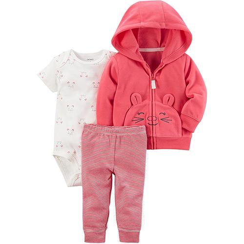 美國 Carter / Carter's 嬰幼兒秋冬外套包屁衣長褲三件組_微笑粉熊_CTGC049
