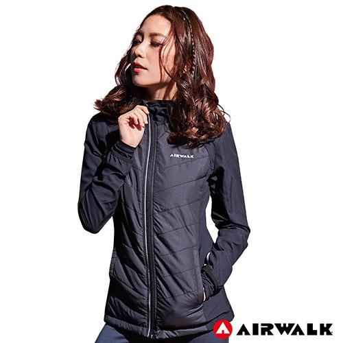 【AIRWALK】女款連帽收納風衣外套-黑色