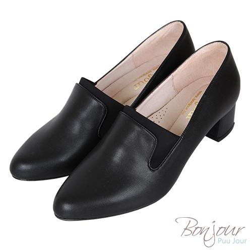 BONJOUR☆3D立體包覆4cm萊卡尖頭低跟鞋Made in Taiwan【ZB0309】黑