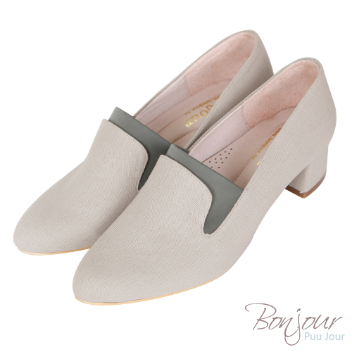 BONJOUR☆3D立體包覆4cm萊卡尖頭低跟鞋Made in Taiwan【ZB0309】灰
