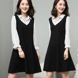 【麗質達人】18027條紋拼接假二件式洋裝(XL-5XL)