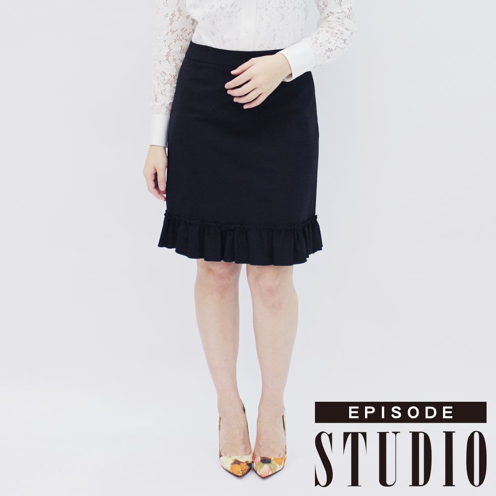 EPISODE Studio - 荷葉擺設計短裙(黑)