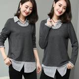 【麗質達人】18057灰色假二件式上衣(XL-5XL)