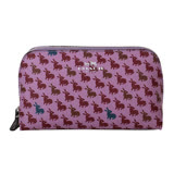 COACH- 烙印馬車LOGO剪影兔防刮船型化妝包(紫)