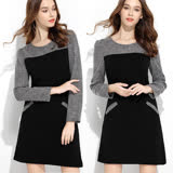 【麗質達人】1001黑灰拼色假二件式洋裝(XL-5XL)