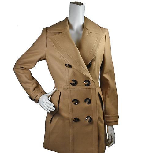 BURBERRY 簡約英倫風高貴典雅羊毛洋裝大衣外套.卡其