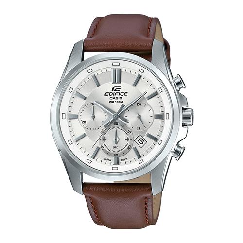 EDIFICE 三眼男錶 皮革錶帶 銀 防水100米 日期顯示 EFR-560L-7A