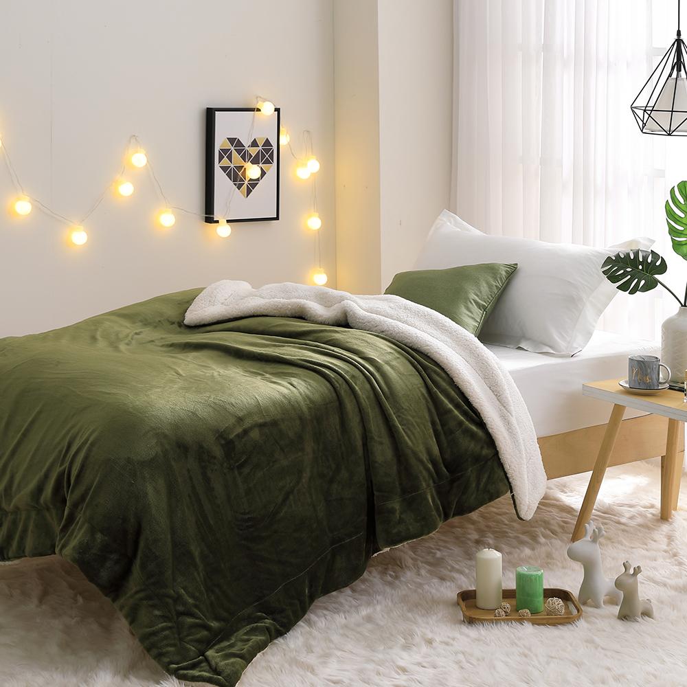 LAMINA 法蘭羊羔絨暖暖被_橄欖綠