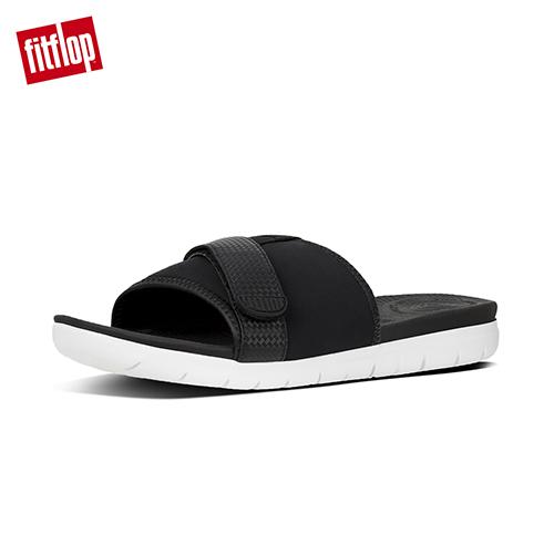 【FitFlop】NEOFLEX SLIDE SANDALS 異材質拼接涼鞋 黑色