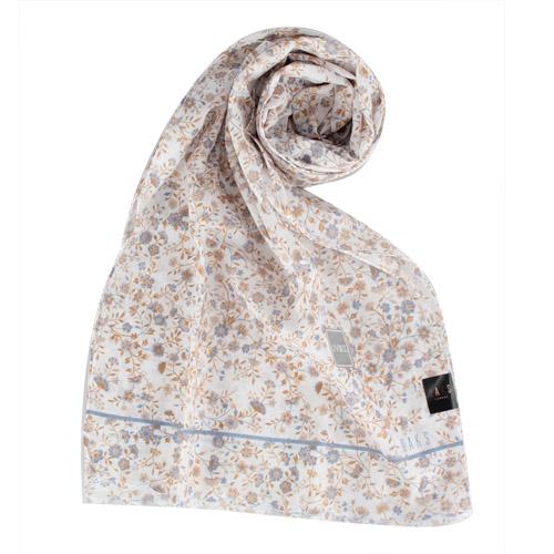 DAKS- 小碎花蕾絲邊抗UV純棉薄圍巾(淺藍)