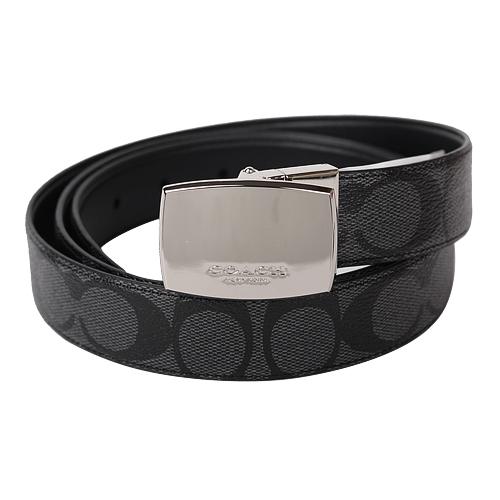 COACH-鐵牌釦防刮LOGO皮革雙面皮帶(黑灰)