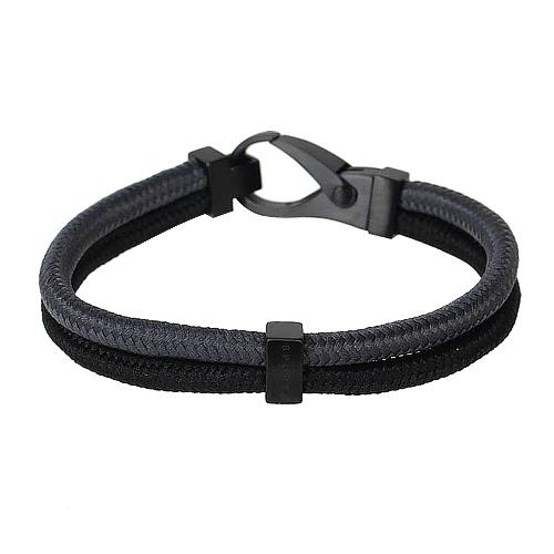 agnes b. -Sport b. 雙色尼龍鉤式手環(藍黑)