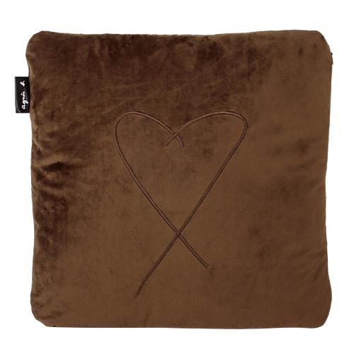 agnes b. - b. logo愛心繡線方型抱枕(咖啡)