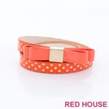 Red House 蕾赫斯-點點蝴蝶結皮帶(橘色)