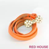 Red House 蕾赫斯-珍珠蝴蝶結皮帶(橘色)