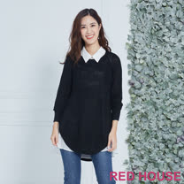 Red House 蕾赫斯-長版兩件式針織衫(黑色)