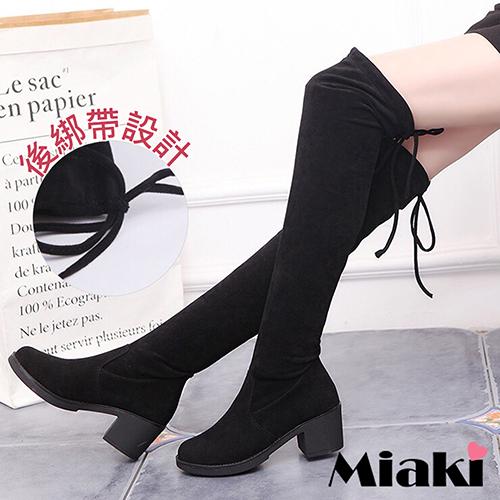 ~Miaki~過膝靴韓風綁帶粗跟高筒長靴  黑色