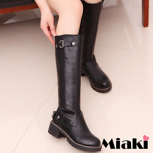 【Miaki】長靴秋冬必敗低跟圓頭高筒靴 (黑色)