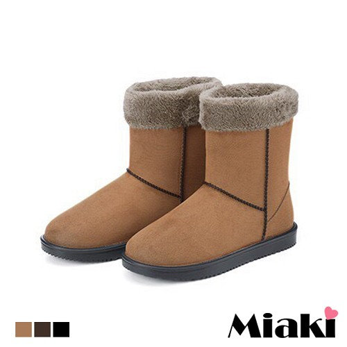 【Miaki】雨靴雪靴造型時尚防水保暖短靴 (咖啡色 / 棕色 / 黑色)