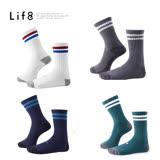 【Life8】Casual 雙線條 深羅紋中筒襪-05293