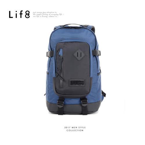 【Life8】Casual 厚層防水大底 多層收納後背包-06402-深藍