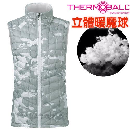 【美國 The North Face】女新款 ThermoBall 極輕量暖魔球防風(科技羽絨)背心(PrimaLoft / 抗水快乾)登山滑雪/363U 灰迷彩 N