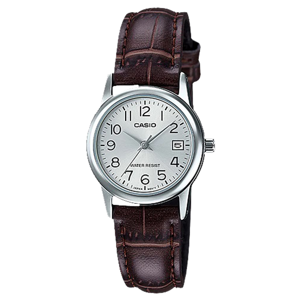 CASIO 卡西歐 指針女錶 皮革錶帶 防水 日期顯示 LTP-V002L-7B2
