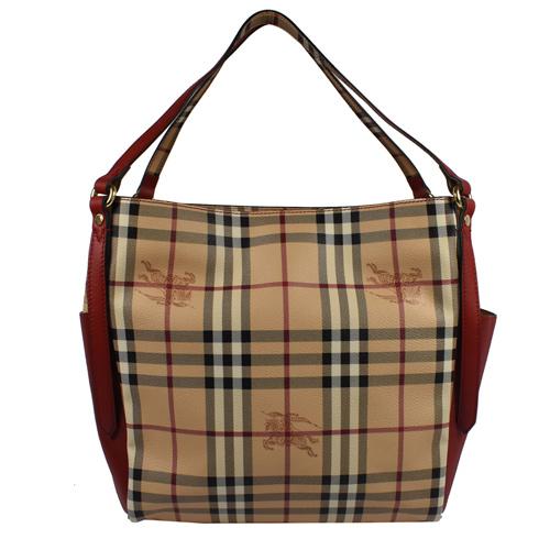 BURBERRY 戰馬格紋造型雙口袋托特包.駝/紅