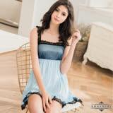 大尺碼Annabery柔緞藍黑蕾絲滾邊平口洋裝式睡衣