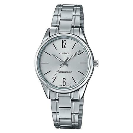 CASIO 卡西歐 指針女錶 三摺錶扣 不鏽鋼錶帶 防水 LTP-V005D-7B