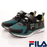 FILA頂級童鞋--運動慢跑款-801R-061黑綠-(20cm~24cm)