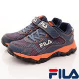 FILA頂級童鞋--蜂巢設計慢跑款-814R-364-藍桔-(19cm~24cm)