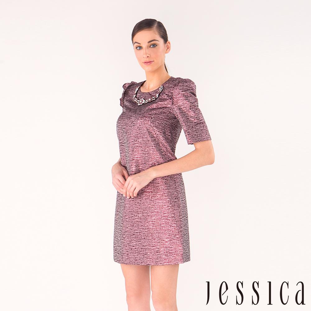 JESSICA - 光澤感造型袖緹花修身洋裝(粉)