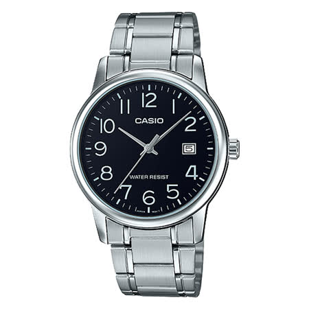 CASIO 卡西歐 指針男錶 不鏽鋼錶帶 防水 日期顯示 MTP-V002D-1B