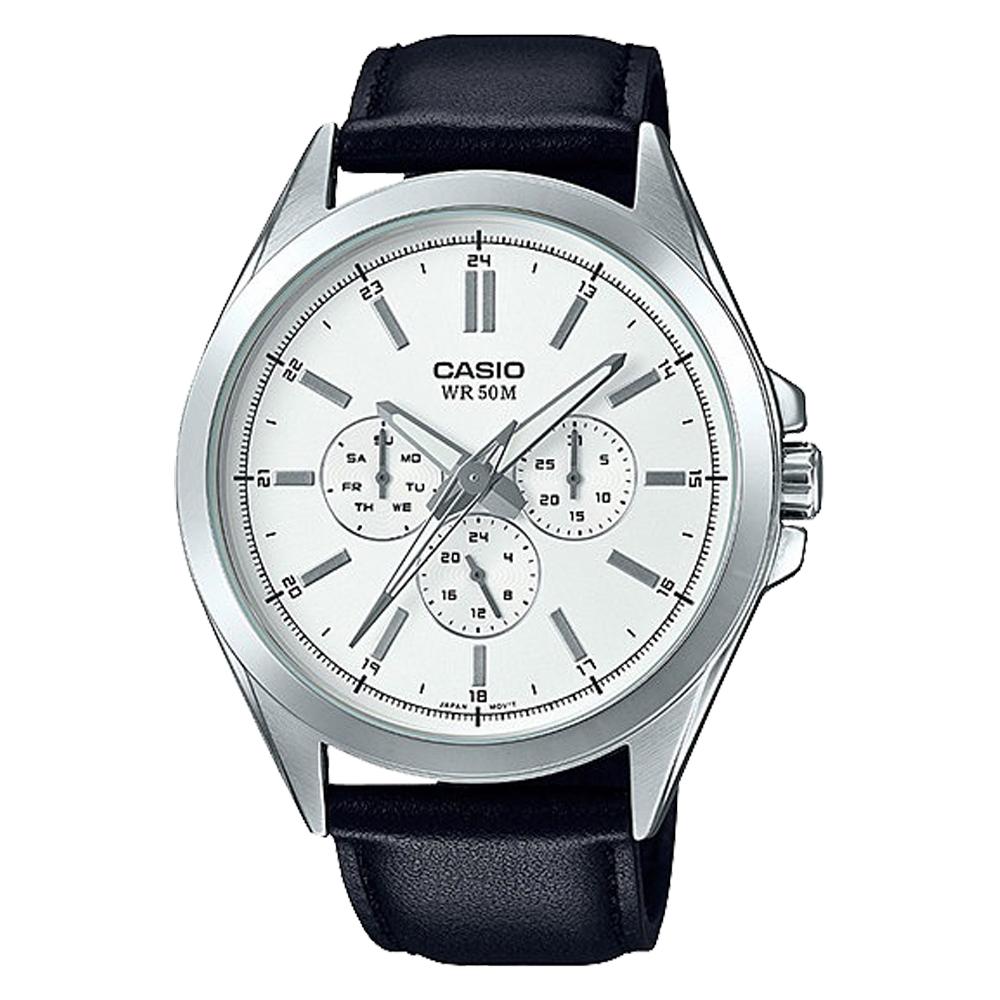 CASIO 卡西歐 三眼男錶 皮革錶帶 防水50米 滑動式秒針 MTP-SW300L-7A