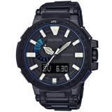 PROTREK 登峰造極鈦合金時尚電波運動腕錶-黑+藍-PRX-8000YT-1B