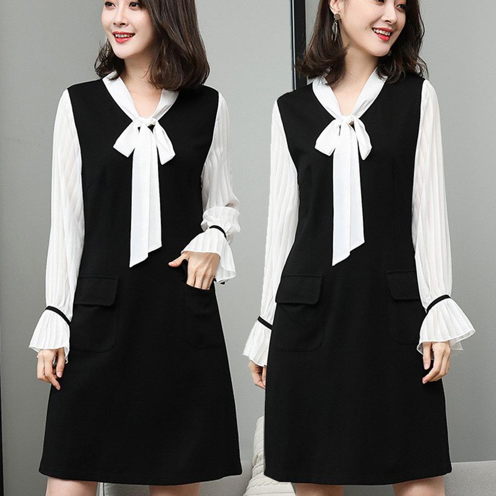 【麗質達人】18008綁帶假二件式洋裝(XL-5XL)
