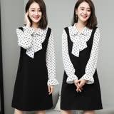 【麗質達人】18032綁帶假二件式洋裝(XL-5XL)