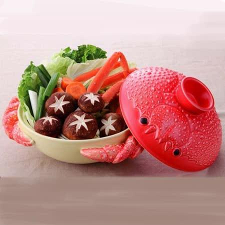 日本製立體螃蟹深型砂鍋2-3人份