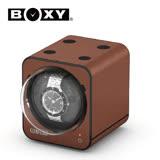 【BOXY手錶自動上鍊盒】【自由堆疊專利】【大錶專用】Fancy Brick系列 皮革棕色 15種模式 機械錶專用 旋轉盒
