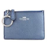 COACH 馬車燙印珠光防刮鑰匙零錢夾(珠光藍)